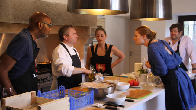 Cooking class conducted by chef Alain Moreau